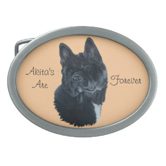 Boucle De Ceinture Ovale conception noire d'art de portrait de chien