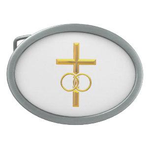 Boucle De Ceinture Ovale Croix à trois dimensions d or avec des anneaux de 414836ff840