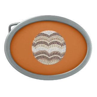 Boucle de ceinture ovale de mosaïque beige ronde