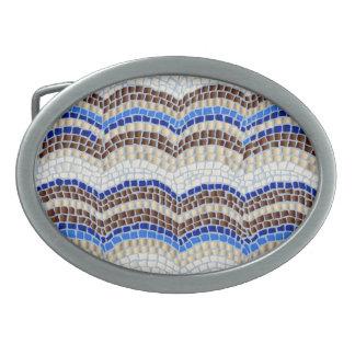 Boucle de ceinture ovale de mosaïque bleue