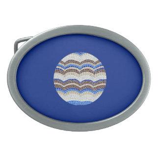 Boucle de ceinture ovale de mosaïque bleue ronde