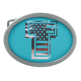 Boucle De Ceinture Ovale Drapeau patriotique des Etats-Unis d'initiale de