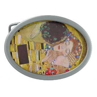 Boucle De Ceinture Ovale Le baiser par Gustav Klimt, art vintage Nouveau