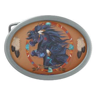 Boucle De Ceinture Ovale Mandala noir de cheval