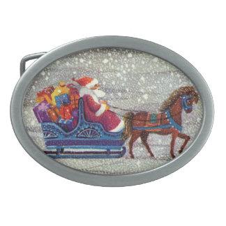 Boucle De Ceinture Ovale Noël vintage, cheval Sleigh ouvert du père noël