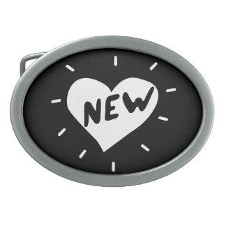 Boucle De Ceinture Ovale Nouveau coeur/boucle de ceinture ovale (noir)