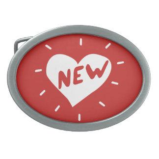 Boucle De Ceinture Ovale Nouveau coeur/boucle de ceinture ovale (rouge)