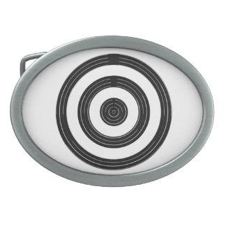 Boucle De Ceinture Ovale OEIL pour l'art - cercles noirs sur le blanc