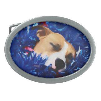 Boucle De Ceinture Ovale Pitbull Terrier américain de chien patriotique des