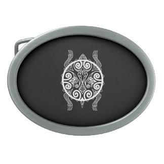 Boucle De Ceinture Ovale Tatouage de tortue de guerrier de Tiki