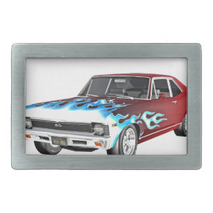 Boucle De Ceinture Rectangulaire 1968 voitures blanches et bleues rouges de  muscle f293e4000cf