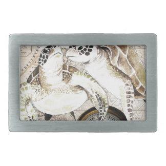 Boucle De Ceinture Rectangulaire Carte de boussole de tortues de mer