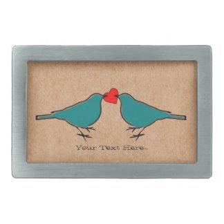 Boucle De Ceinture Rectangulaire Coeur d'amour et Valentines d'oiseaux