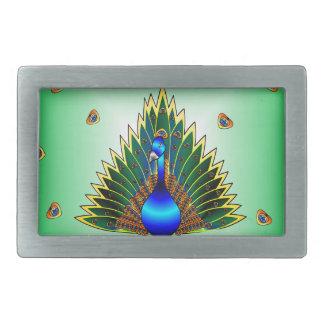 Boucle De Ceinture Rectangulaire Conception graphique de paon avec l'arrière - plan