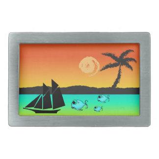 Boucle De Ceinture Rectangulaire Coucher du soleil d'île