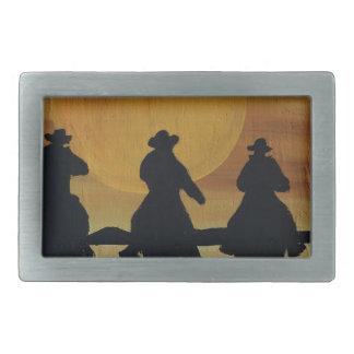 Boucle De Ceinture Rectangulaire cowboys et chevaux