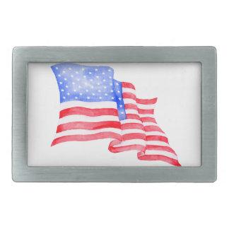Boucle De Ceinture Rectangulaire Drapeau américain d'aquarelle