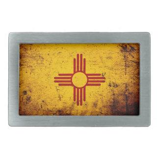 Boucle De Ceinture Rectangulaire Drapeau grunge noir d'état du Nouveau Mexique