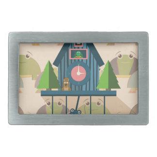 Boucle De Ceinture Rectangulaire Horloge de coucou avec le papier peint de tortue