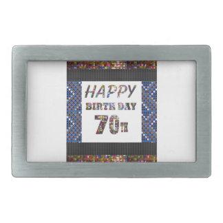 Boucle De Ceinture Rectangulaire Joyeux soixante-dixième anniversaire