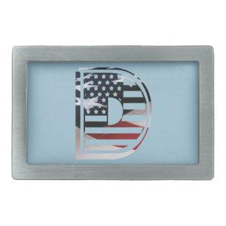 Boucle De Ceinture Rectangulaire Motif de drapeau des Etats-Unis d'initiale de
