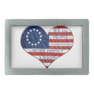 Boucle De Ceinture Rectangulaire Nous le coeur de drapeau américain de personnes