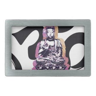 Boucle De Ceinture Rectangulaire Ohm de Buddah de coucher du soleil