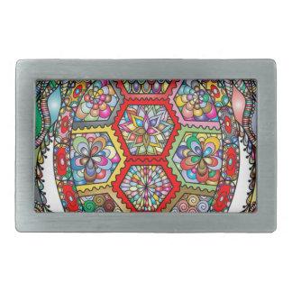 Boucle De Ceinture Rectangulaire Ornamental décoratif de fleurs florales de tortue