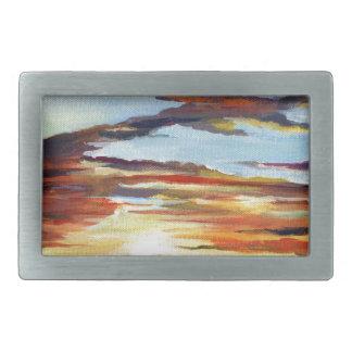 Boucle De Ceinture Rectangulaire Peinture acrylique de coucher du soleil