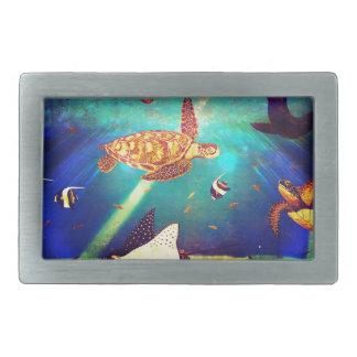 Boucle De Ceinture Rectangulaire Peinture colorée de tortue de mer d'océan bleu