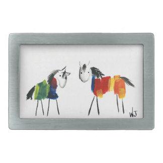 Boucle De Ceinture Rectangulaire Peu de poneys d'arc-en-ciel