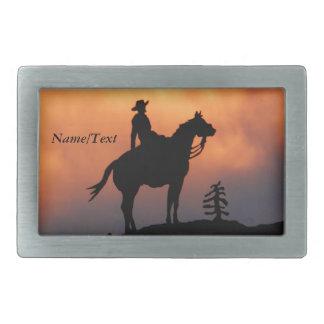 Boucle De Ceinture Rectangulaire Silhouette de cheval et de coucher du soleil de