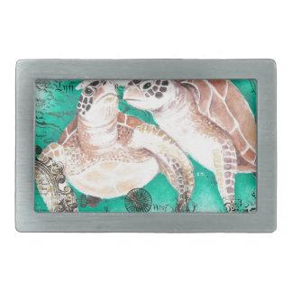 Boucle De Ceinture Rectangulaire Tortues de mer turquoises