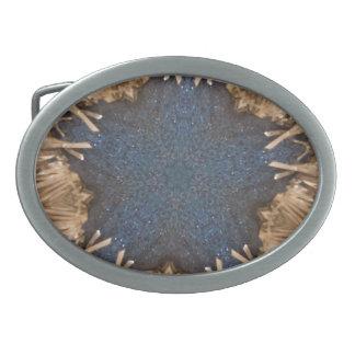 Boucles De Ceinture Ovales Arrière - plan bleu d'osier d'étoile de