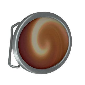 Boucles De Ceinture Ovales Art en spirale léger foncé de Brown