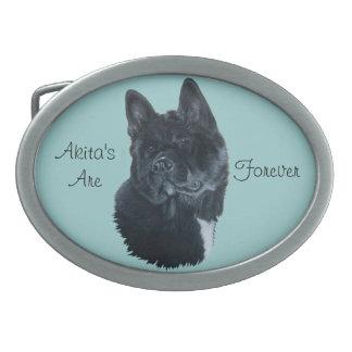 Boucles De Ceinture Ovales conception noire d'art de portrait de chien