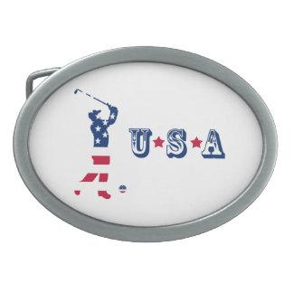 Boucles De Ceinture Ovales Golfeur de drapeau américain de golf des