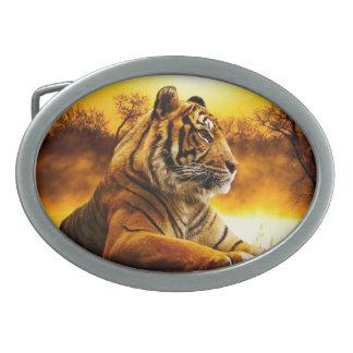 Boucles De Ceinture Ovales Tigre et coucher du soleil