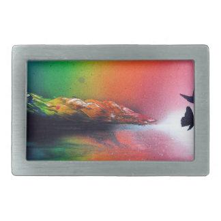 Boucles De Ceinture Rectangulaires Coucher du soleil d'arc-en-ciel avec l'art de