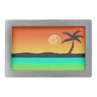 Boucles De Ceinture Rectangulaires Coucher du soleil d'île