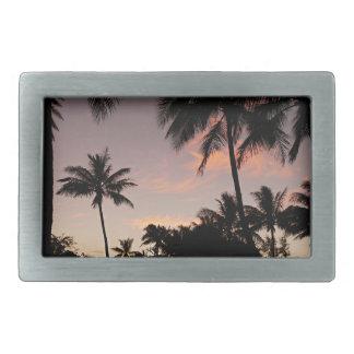 Boucles De Ceinture Rectangulaires Coucher du soleil rose d'Hawaï