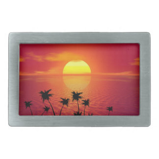 Boucles De Ceinture Rectangulaires Coucher du soleil tropical