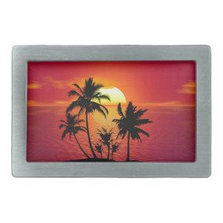 Boucles De Ceinture Rectangulaires Coucher du soleil tropical de plage d'été de