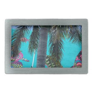 Boucles De Ceinture Rectangulaires Tortue tropicale, paradis de palmier