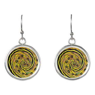 Boucles D'oreilles Art abstrait jaune moderne