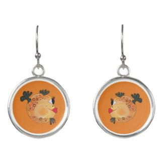 Boucles D'oreilles Art lunatique et adorable de poissons orange et