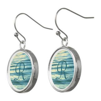 Boucles D'oreilles Mer éclairée par la lune décorée d'un monogramme