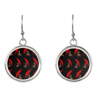 Boucles D'oreilles Motif noir rouge de Meerkat,