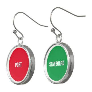Boucles D'oreilles Port rouge et tribord vert