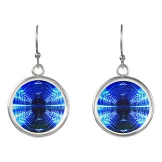 Boucles D'oreilles Vortex rougeoyant graphique moderne, bleu -